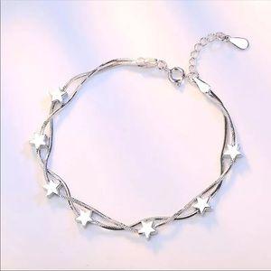 NEW 925 sterling silver bracelet stars womens